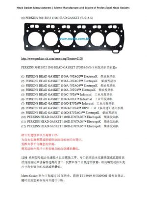 Engine Head Gasket Manufacturers-(6) PERKINS 3681E052 1106 HEAD GASKET (Y2016-S)